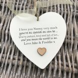 Shabby personalised Gift Chic Heart Plaque Special Nanny ~ Nana Or ANY NAME Gift - 233008506044